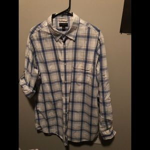 Blue and White Plaid Button Down